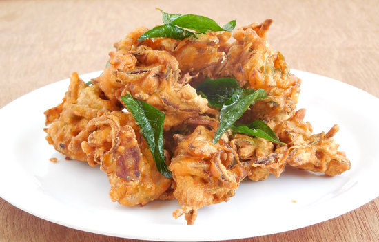 Indian Pakoda is a common street food.